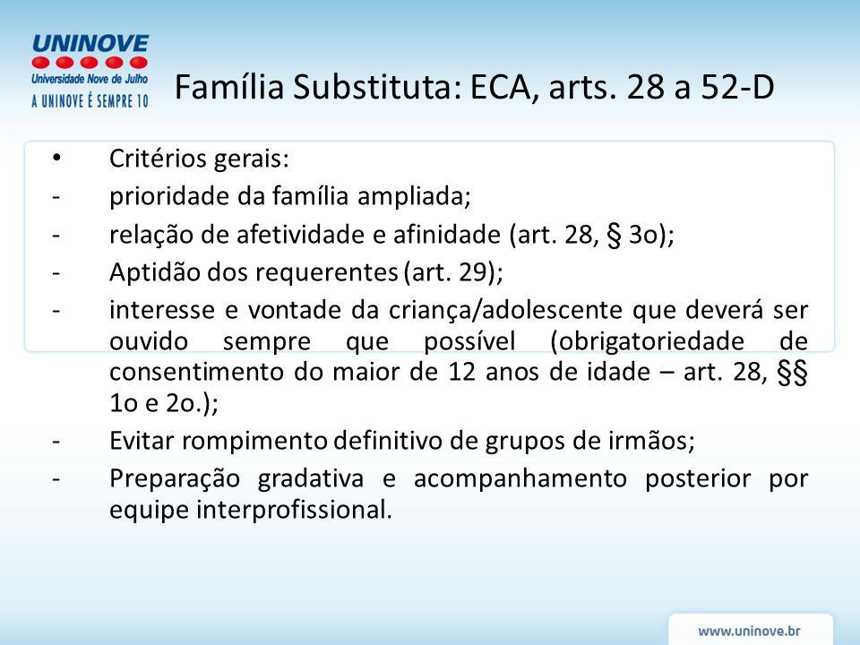 Família Substituta: ECA, arts. 28 a 52-D