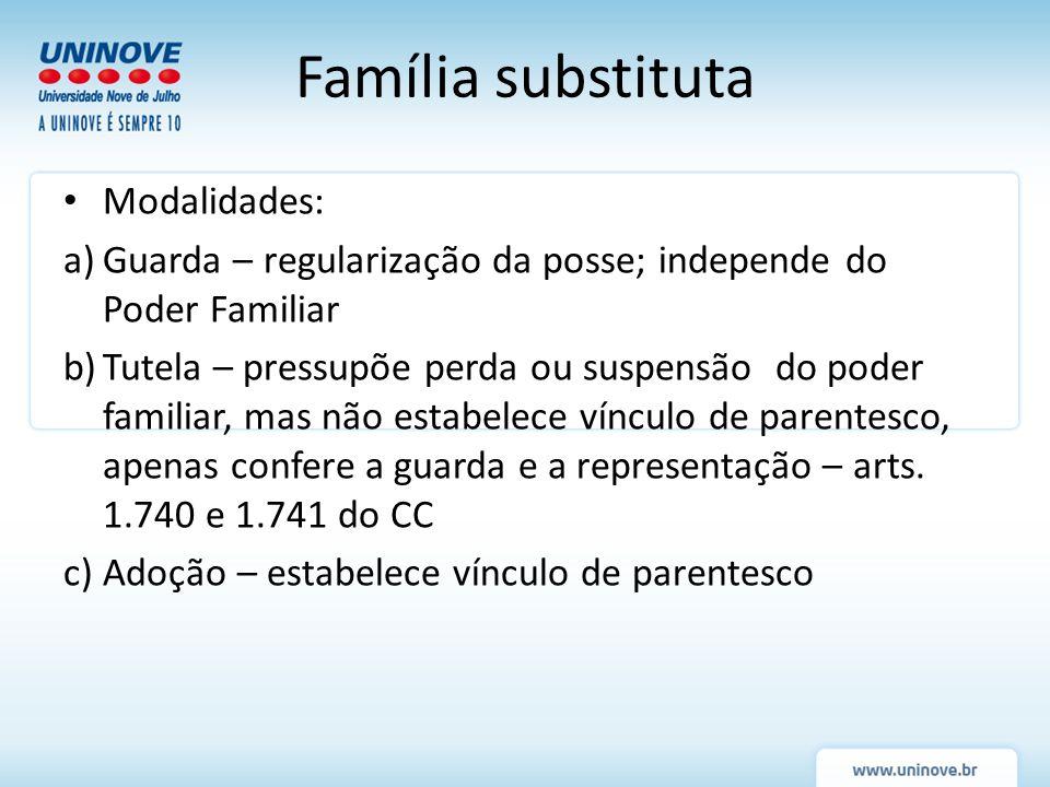 Família substituta Modalidades: