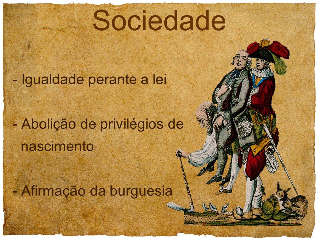 Sociedade - Igualdade perante a lei - Abolição de privilégios de nascimento - Afirmação da burguesia.