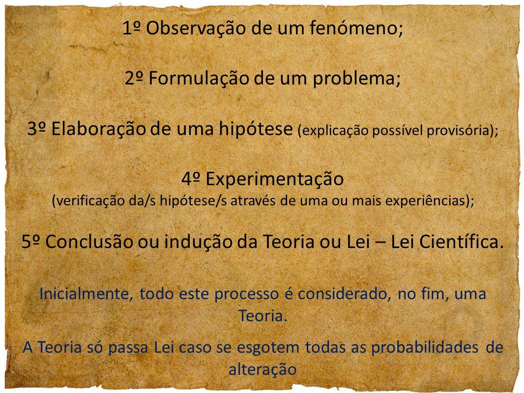 1º Observação de um fenómeno; 2º Formulação de um problema;