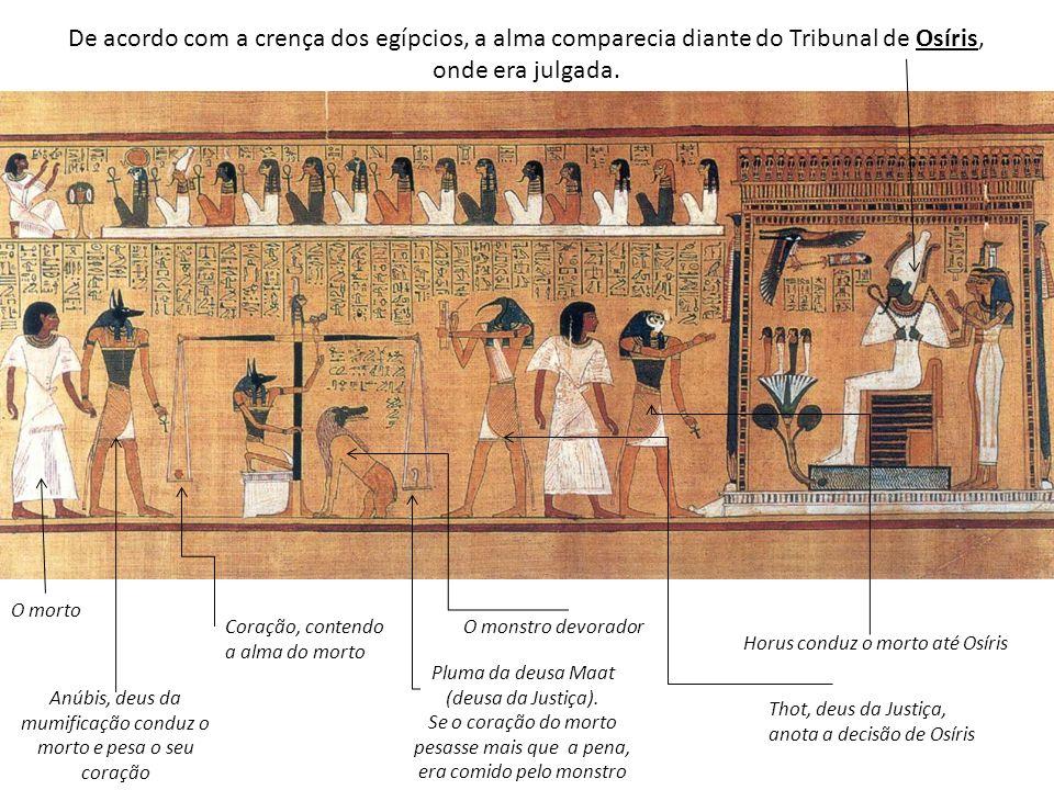 De acordo com a crença dos egípcios, a alma comparecia diante do Tribunal de Osíris, onde era julgada.