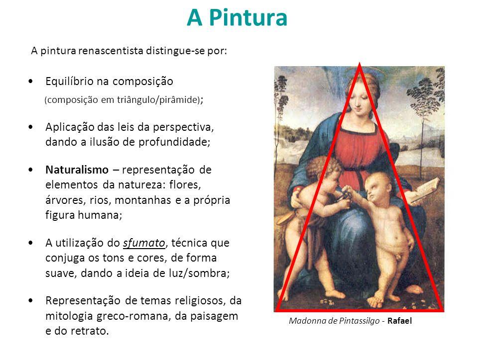 A Pintura Equilíbrio na composição (composição em triângulo/pirâmide);