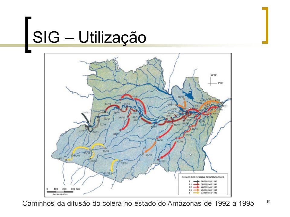 SIG – Utilização Caminhos da difusão do cólera no estado do Amazonas de 1992 a 1995