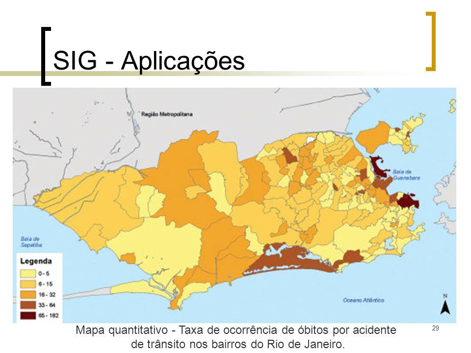 SIG - Aplicações Mapa quantitativo - Taxa de ocorrência de óbitos por acidente.