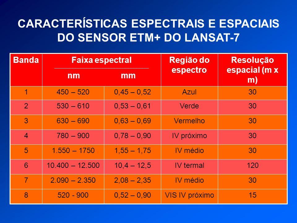 CARACTERÍSTICAS ESPECTRAIS E ESPACIAIS DO SENSOR ETM+ DO LANSAT-7