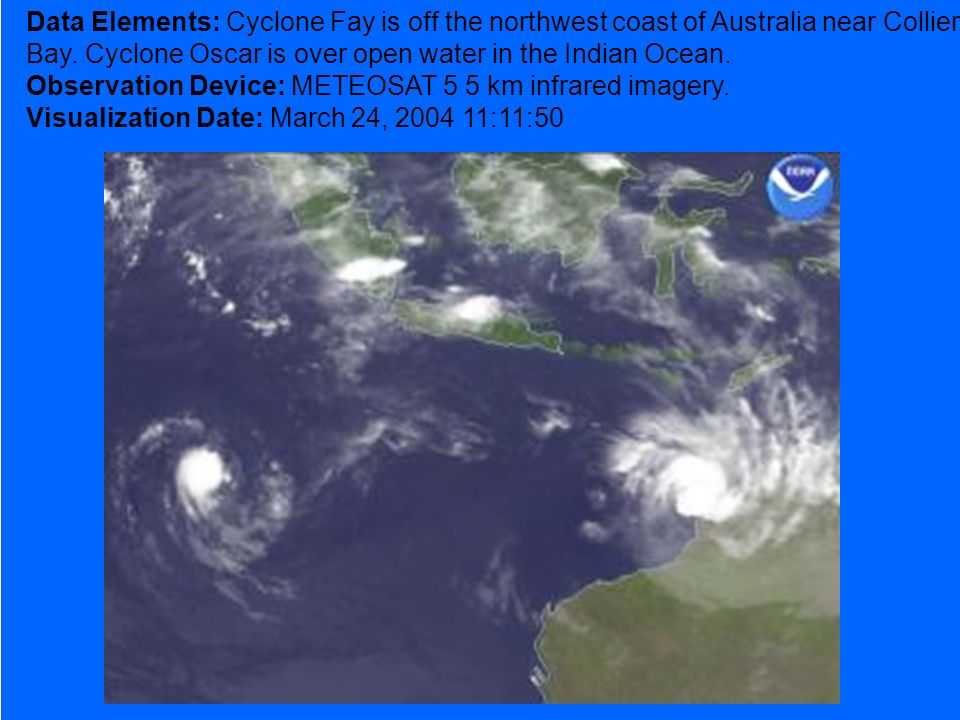 Data Elements: Cyclone Fay is off the northwest coast of Australia near Collier Bay.