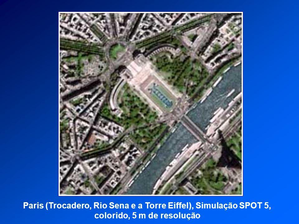 Paris (Trocadero, Rio Sena e a Torre Eiffel), Simulação SPOT 5,