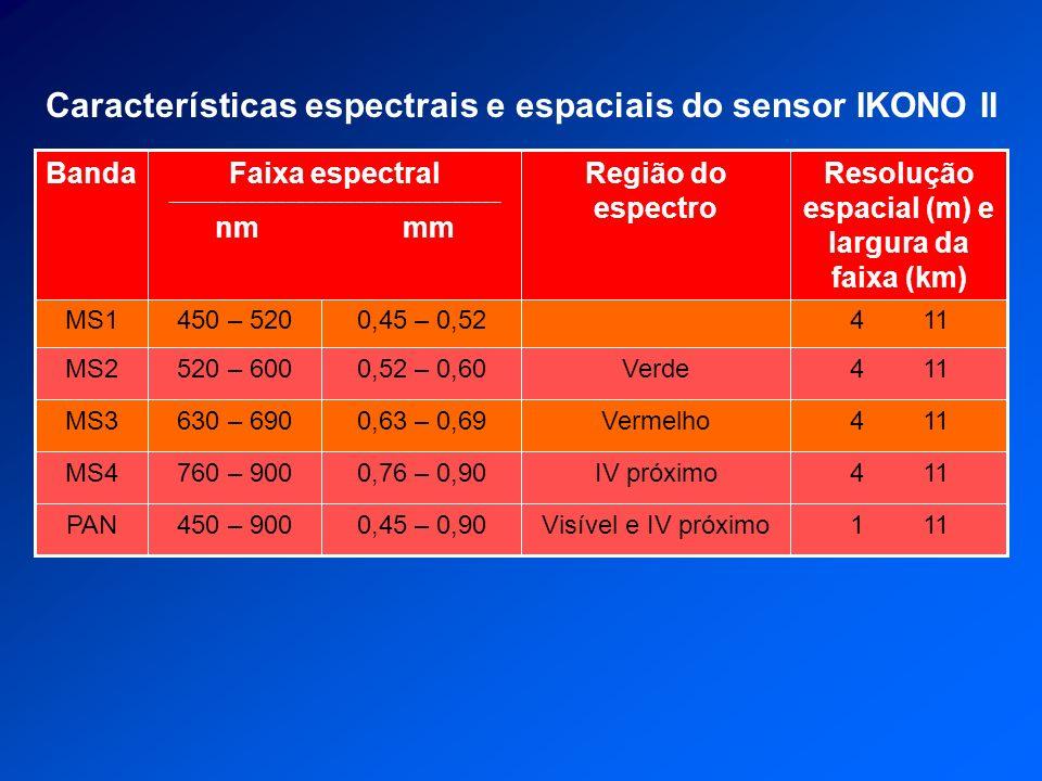 Características espectrais e espaciais do sensor IKONO II
