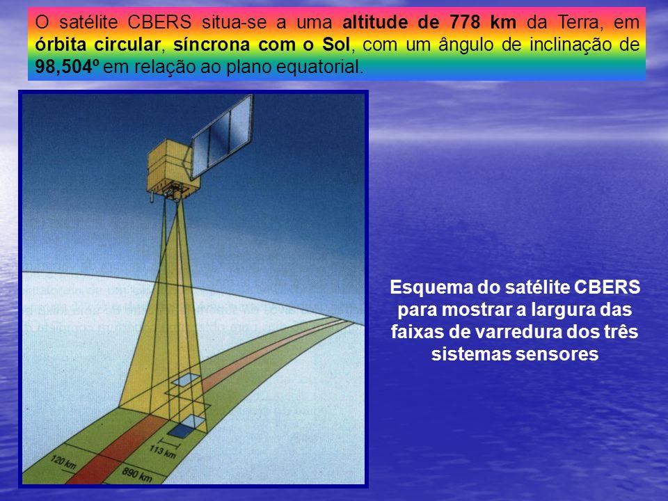 O satélite CBERS situa-se a uma altitude de 778 km da Terra, em órbita circular, síncrona com o Sol, com um ângulo de inclinação de 98,504º em relação ao plano equatorial.