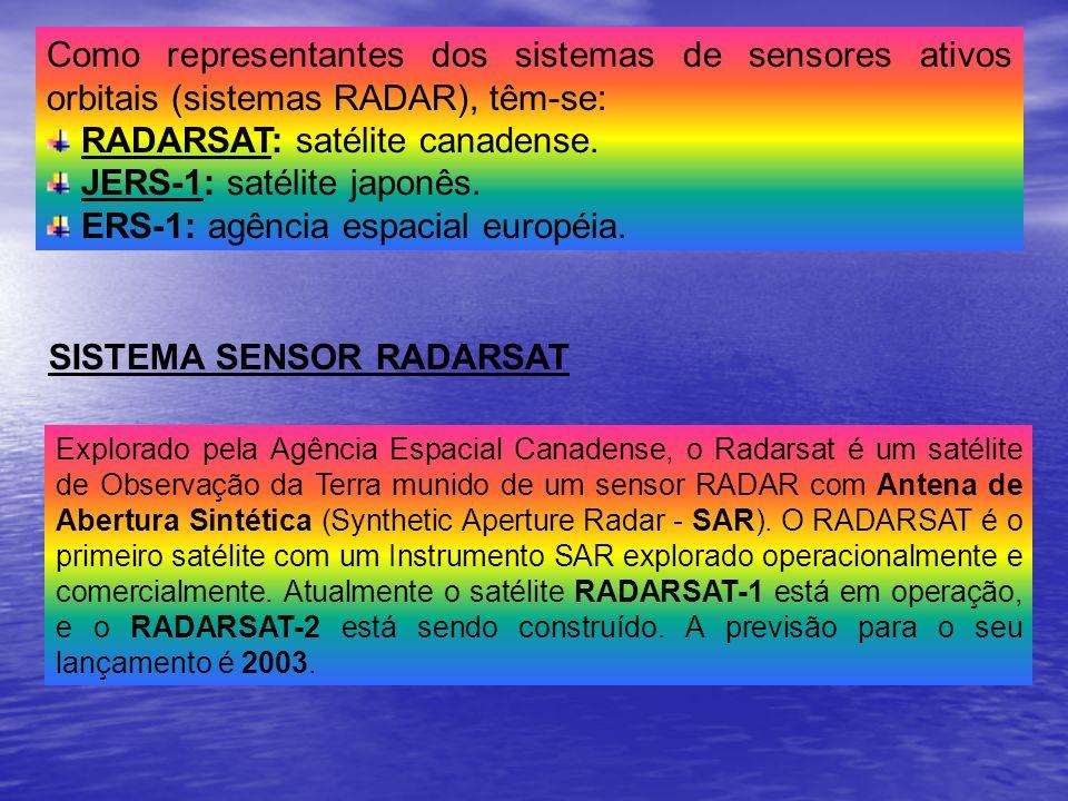 RADARSAT: satélite canadense. JERS-1: satélite japonês.
