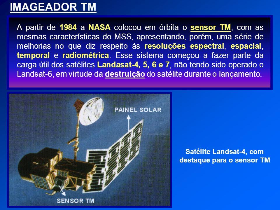 Satélite Landsat-4, com destaque para o sensor TM