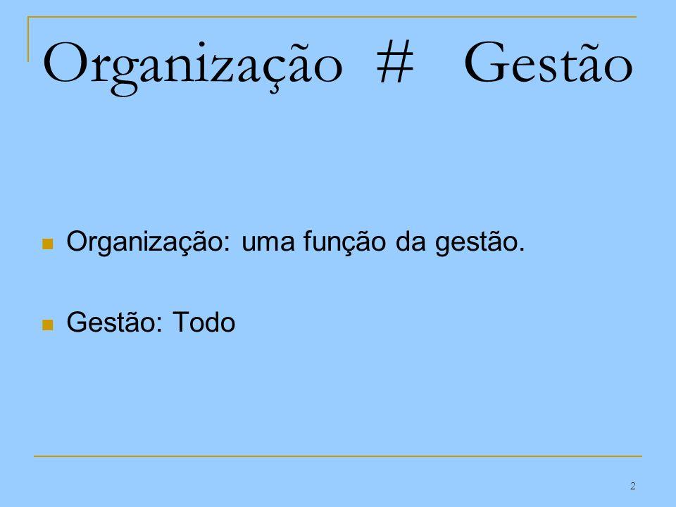 Organização # Gestão Organização: uma função da gestão. Gestão: Todo