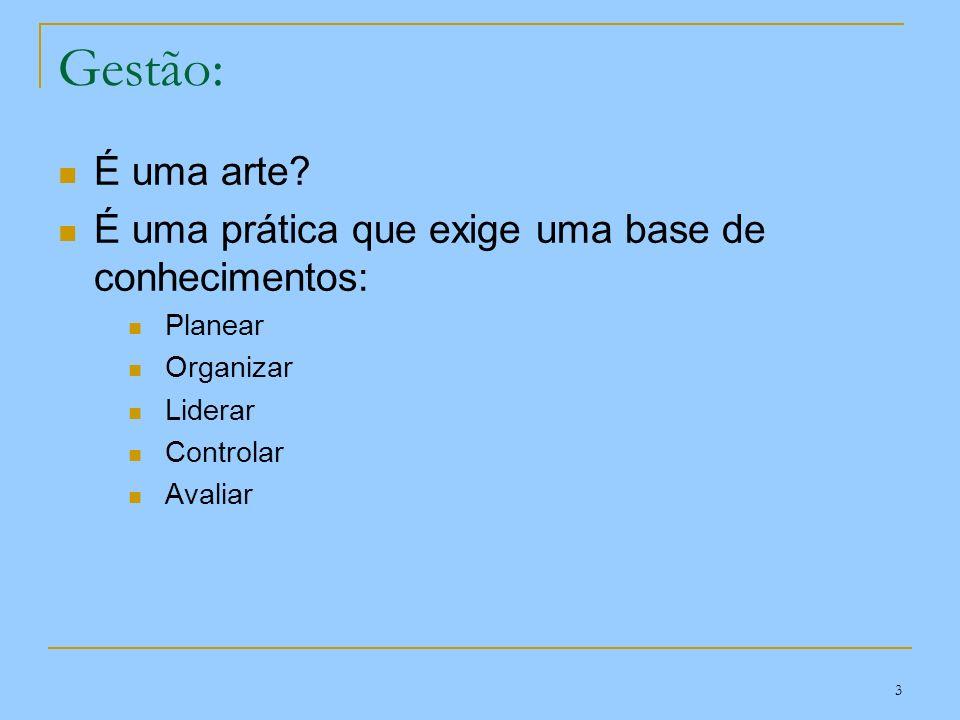 Gestão: É uma arte É uma prática que exige uma base de conhecimentos: