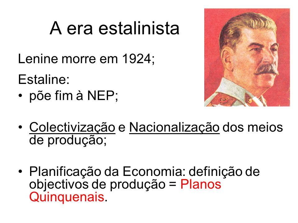 A era estalinista Lenine morre em 1924; Estaline: põe fim à NEP;