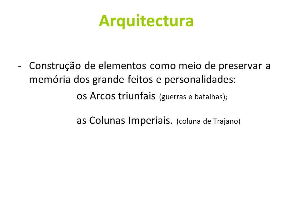 Arquitectura Construção de elementos como meio de preservar a memória dos grande feitos e personalidades:
