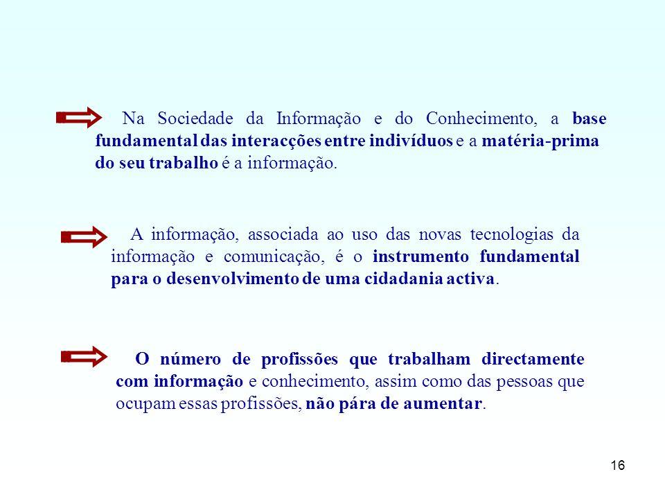 Na Sociedade da Informação e do Conhecimento, a base fundamental das interacções entre indivíduos e a matéria-prima
