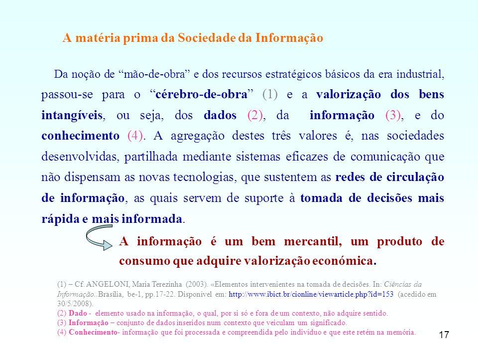 A matéria prima da Sociedade da Informação