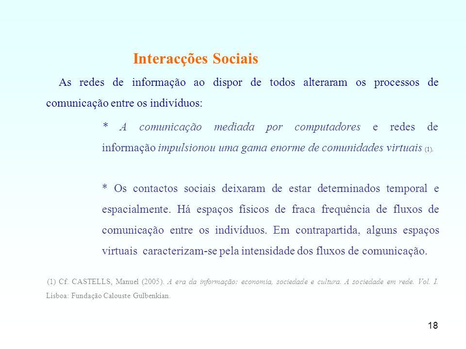 Interacções Sociais As redes de informação ao dispor de todos alteraram os processos de comunicação entre os indivíduos: