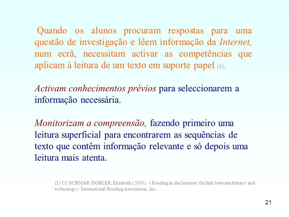 Quando os alunos procuram respostas para uma questão de investigação e lêem informação da Internet, num ecrã, necessitam activar as competências que aplicam à leitura de um texto em suporte papel (1).