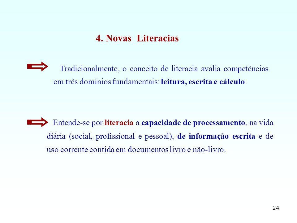 4. Novas Literacias Tradicionalmente, o conceito de literacia avalia competências em três domínios fundamentais: leitura, escrita e cálculo.