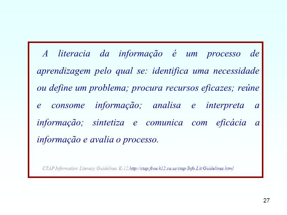 A literacia da informação é um processo de aprendizagem pelo qual se: identifica uma necessidade ou define um problema; procura recursos eficazes; reúne e consome informação; analisa e interpreta a informação; sintetiza e comunica com eficácia a informação e avalia o processo.