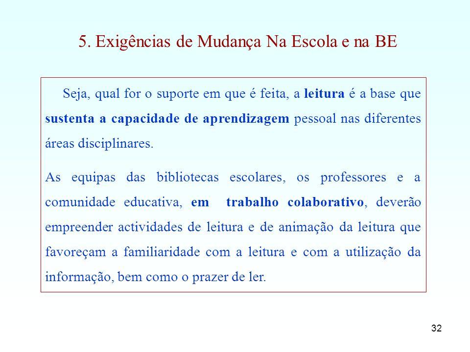 5. Exigências de Mudança Na Escola e na BE