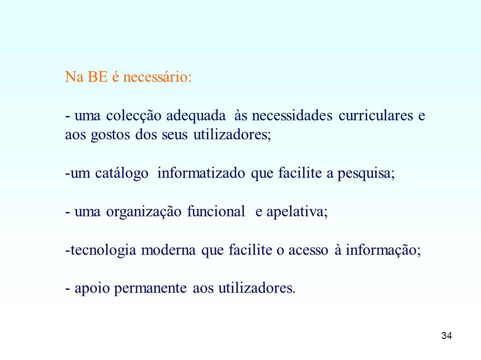 Na BE é necessário: uma colecção adequada às necessidades curriculares e aos gostos dos seus utilizadores;