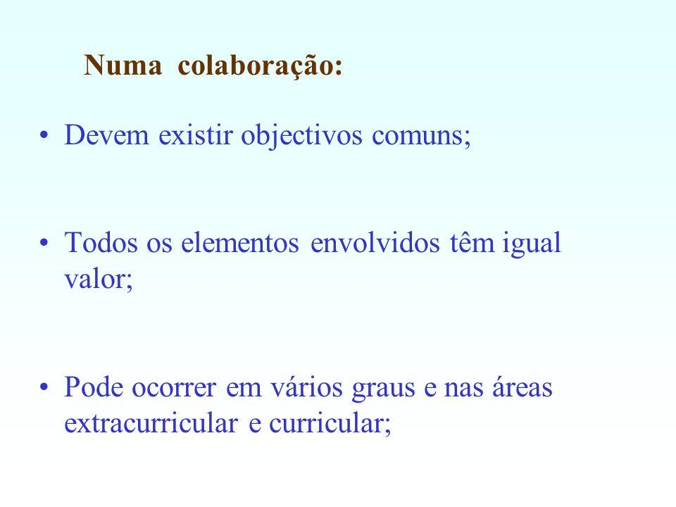 Numa colaboração: Devem existir objectivos comuns; Todos os elementos envolvidos têm igual valor;