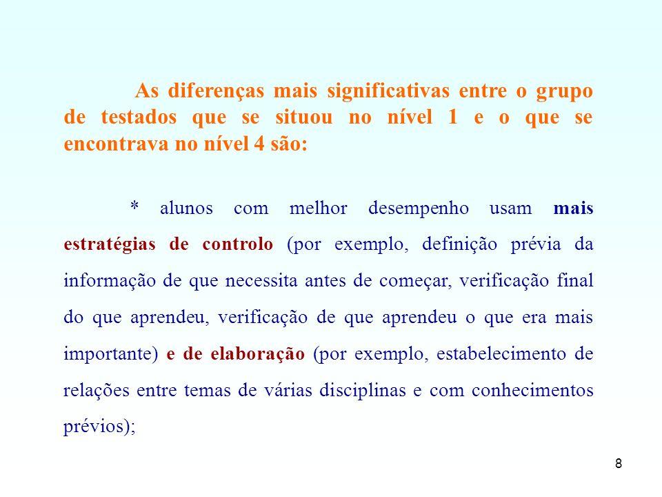 As diferenças mais significativas entre o grupo de testados que se situou no nível 1 e o que se encontrava no nível 4 são: