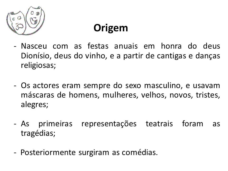 Origem Nasceu com as festas anuais em honra do deus Dionísio, deus do vinho, e a partir de cantigas e danças religiosas;