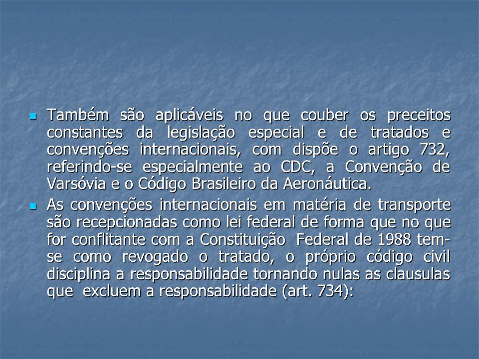 Também são aplicáveis no que couber os preceitos constantes da legislação especial e de tratados e convenções internacionais, com dispõe o artigo 732, referindo-se especialmente ao CDC, a Convenção de Varsóvia e o Código Brasileiro da Aeronáutica.