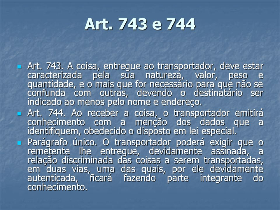 Art. 743 e 744