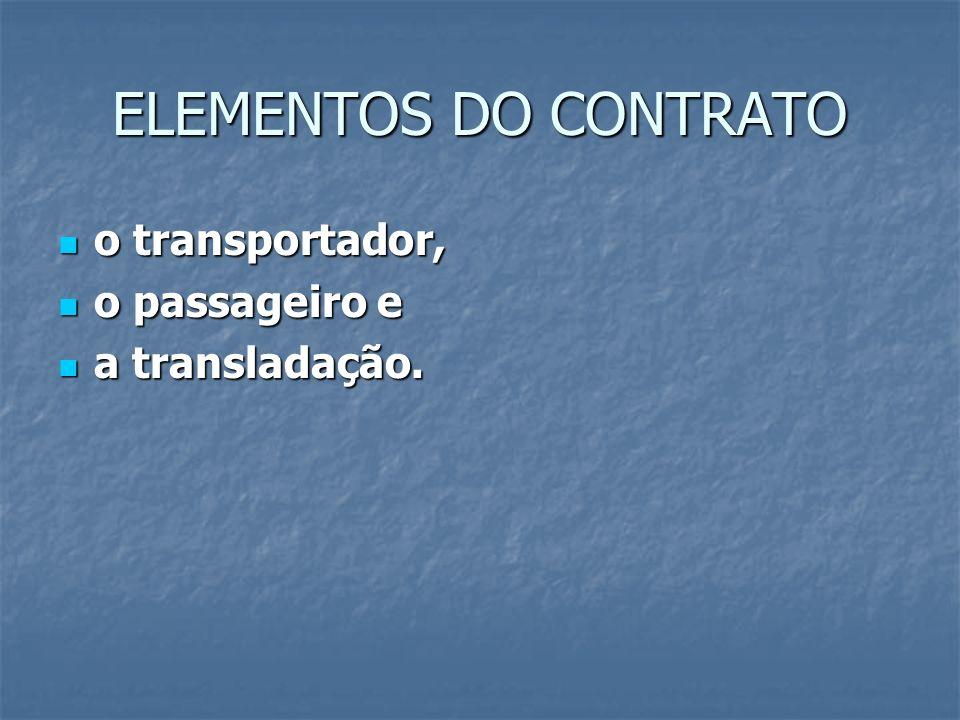 ELEMENTOS DO CONTRATO o transportador, o passageiro e a transladação.