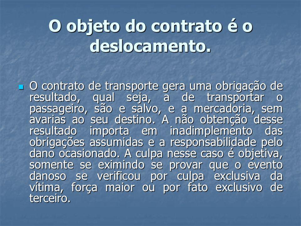 O objeto do contrato é o deslocamento.