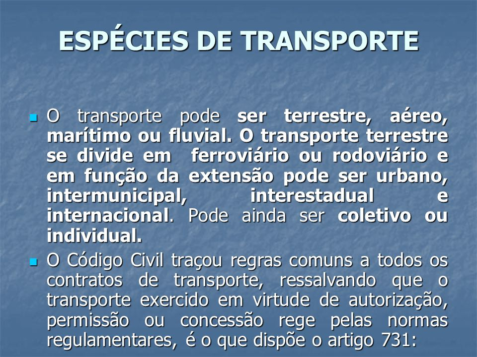 ESPÉCIES DE TRANSPORTE