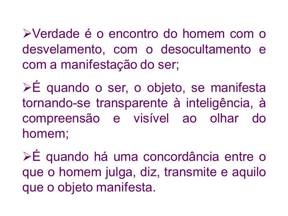 Verdade é o encontro do homem com o desvelamento, com o desocultamento e com a manifestação do ser;