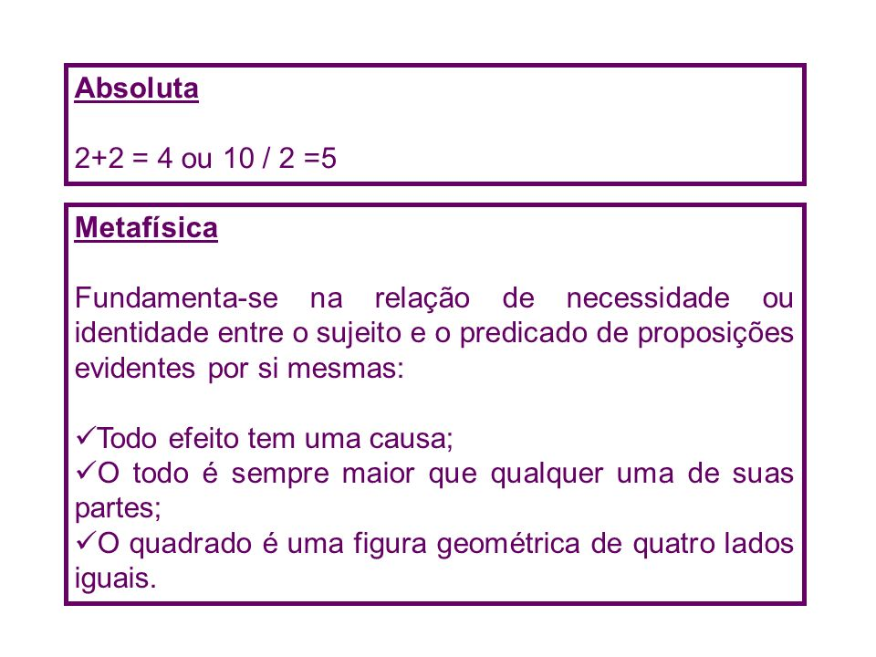 Absoluta 2+2 = 4 ou 10 / 2 =5. Metafísica.