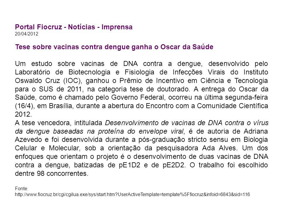 Portal Fiocruz - Notícias - Imprensa