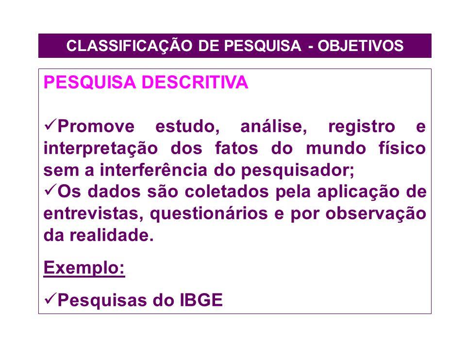 CLASSIFICAÇÃO DE PESQUISA - OBJETIVOS