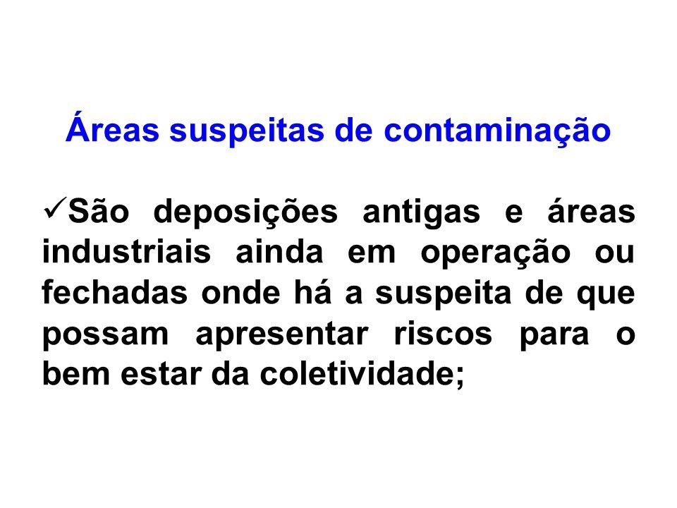 Áreas suspeitas de contaminação