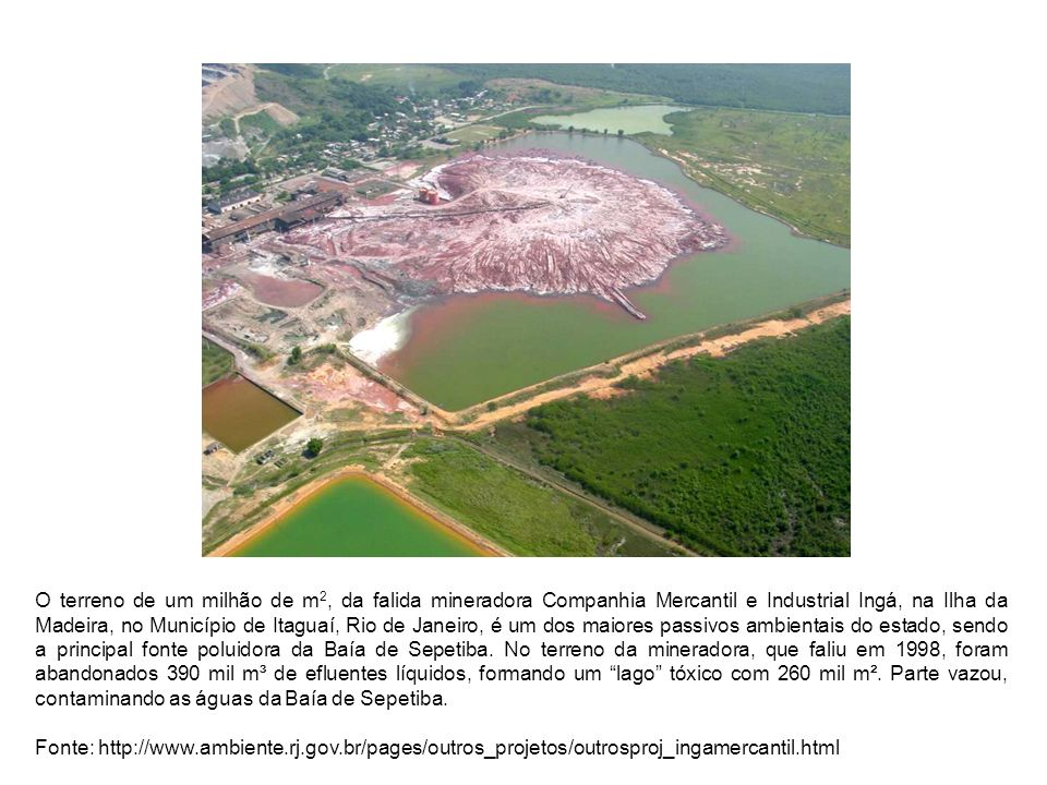 O terreno de um milhão de m2, da falida mineradora Companhia Mercantil e Industrial Ingá, na Ilha da Madeira, no Município de Itaguaí, Rio de Janeiro, é um dos maiores passivos ambientais do estado, sendo a principal fonte poluidora da Baía de Sepetiba. No terreno da mineradora, que faliu em 1998, foram abandonados 390 mil m³ de efluentes líquidos, formando um lago tóxico com 260 mil m². Parte vazou, contaminando as águas da Baía de Sepetiba.
