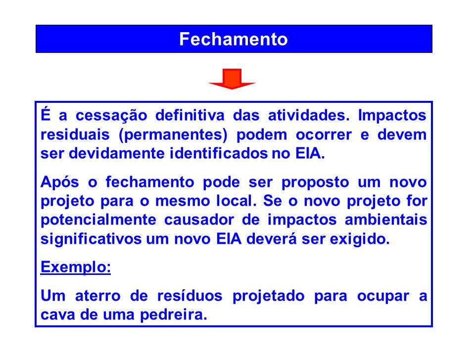 FechamentoÉ a cessação definitiva das atividades. Impactos residuais (permanentes) podem ocorrer e devem ser devidamente identificados no EIA.
