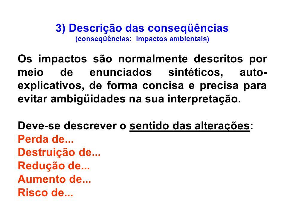 3) Descrição das conseqüências (conseqüências: impactos ambientais)