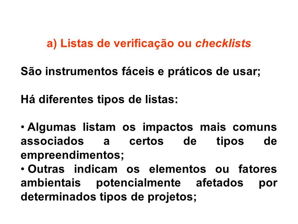 a) Listas de verificação ou checklists