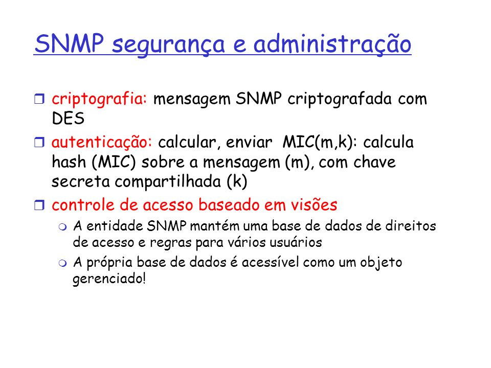 SNMP segurança e administração