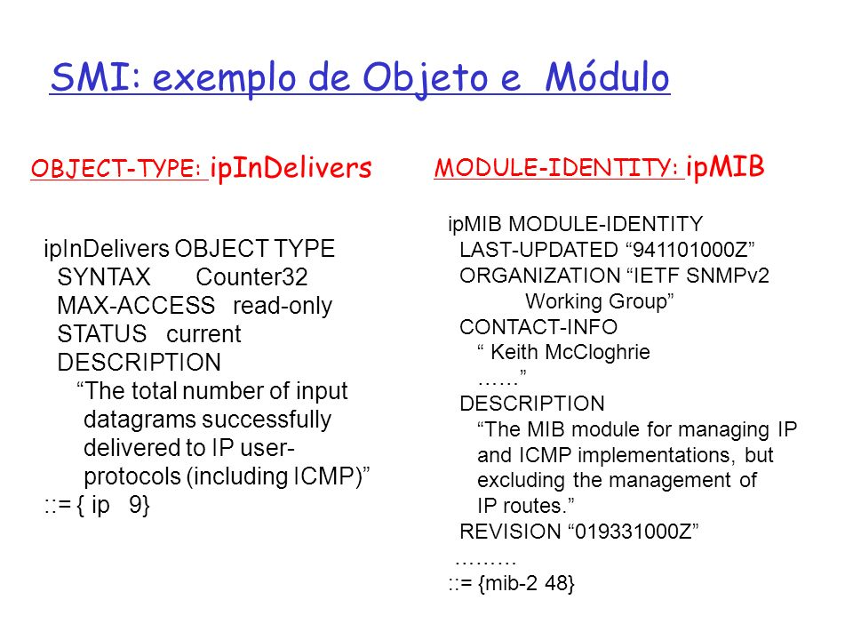 SMI: exemplo de Objeto e Módulo