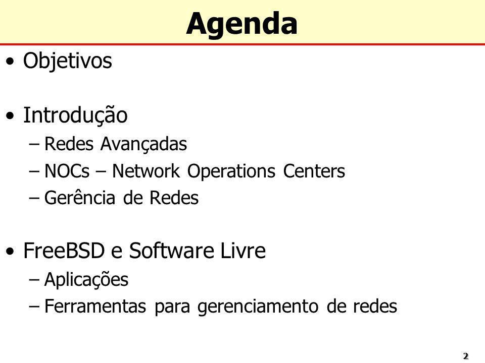 Agenda Objetivos Introdução FreeBSD e Software Livre Redes Avançadas