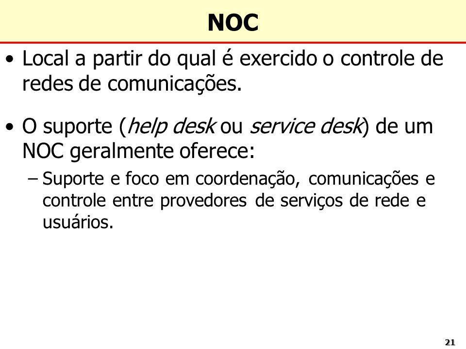 NOCLocal a partir do qual é exercido o controle de redes de comunicações. O suporte (help desk ou service desk) de um NOC geralmente oferece: