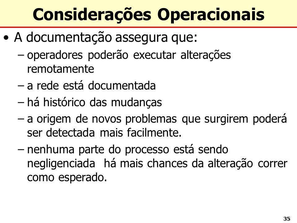 Considerações Operacionais