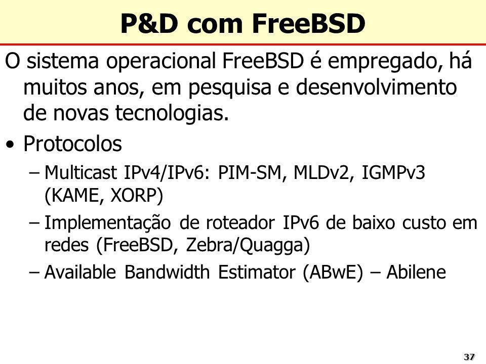 P&D com FreeBSD O sistema operacional FreeBSD é empregado, há muitos anos, em pesquisa e desenvolvimento de novas tecnologias.